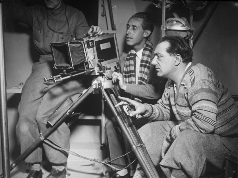 Fritz Lang en el rodaje de 'La mujer en la luna' (1929)